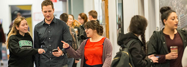 Future business leaders discuss their latest project in the halls of UFV